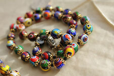 "-Vintage Colorful Millefiori Art Glass 8mm beads 18.5"" necklace made in Italy"