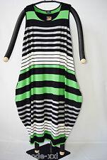 AKH Fashion: Lagenlook Ballon-Kleid, grün/grau/schwarz/weiss, one size 46-52 %%%