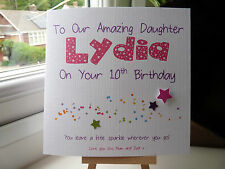 Handmade Personalised Birthday Sparkle Card Daughter Grandaughter Niece Any Age