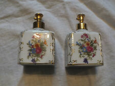 Collectible Perfume Set 2 Matched Signed IRICE Ceramic Floral Vintage WOW
