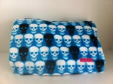 Betsey Johnson blue multi-color skulls super soft plush throw blanket 50x70 New!