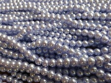 1 Strand x 4mm Lavender Blue Glass Pearl Beads (215 Beads) Imitation Faux Pearls