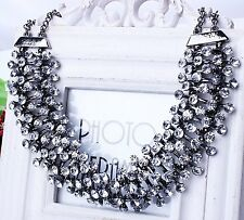 US Luxury Fashion Style Women Bib Choker Rhinestone Statement Collar Necklace