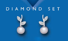 Sterling Silver Freshwater Cultured Pearl & Real Diamond Leaf Earrings