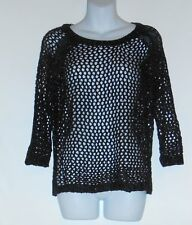 Mac Jac Ladies Open Lacy Design 3/4 Sleeve Knit Sweater Top Black XL NWT