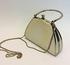 Vintage Silver White Pillbox Purse Hinged Handle, Silver Metal Frame Evening Bag