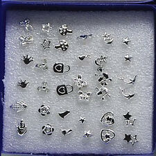 18 Pairs Lovely Fashion Small Stud Earrings Girls Mixed Styles Plastic Mini Gift