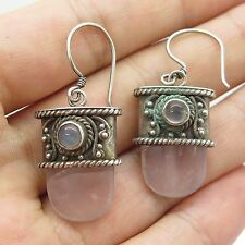 Vintage Sterling Silver Large Amethyst & Moonstone Gem Carved Drop Earrings
