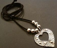 bijoux Black long Faux Suede necklace with Large Tibetan Love Heart Charm Gift