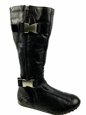 Replay double sided zipper Knee high Buckle Boots Black Size 8.5 USA. EUR. 39