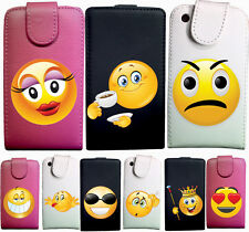 IDB CUSTODIA COVER CASE ECO PELLE EMOTICON SMILE PER IPHONE 5 5S S