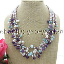 S091010 4Strands Peal Amethyst Natural Larimar Chips Necklace