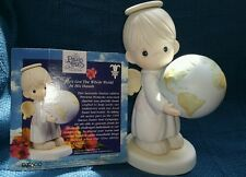 "Precious moments Ltd Ed 9"" .. He's got the whole world in his hands. NIB"