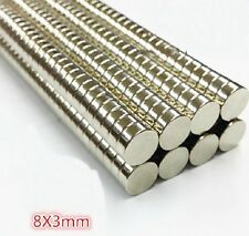 50pcs Neodym-Scheibenmagnete Dia 8mm x 3mm Rare Earth NdFeB Magnet F15181
