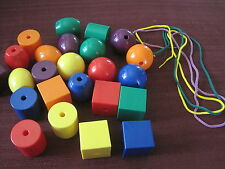24 Jumbo Plastic Lacing Beads 3 laces Fine Motor Colors Ot Toddler Autism PreK+