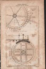 1808 antico stampa ~ ruote idrauliche ~ John smeaton ~ SECTIONAL superamento diagrammi