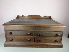 Antique Merrick's Spool Cotton Thread 4 Drawer Desk Cabinet Folding Top 1800s