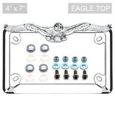 Chrome Eagle License Plate Frame Locking Screw & Cap CHROME Kit for Motorcycle