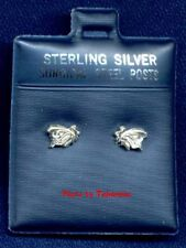 2 PAIR STERLING SILVER EARRINGS (SURGICAL STEEL POSTS) 1 BUTTERFLY and 1 FLOWER