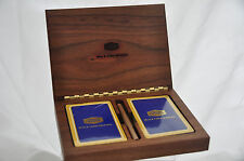 Advertising  Union Carbide Wire & Cable Walnut Box w/ 2 Decks Playing Cards