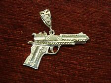 "STERLING SILVER LARGE SIZE ""PISTOL"" PENDANT - NO PERMIT REQUIRED ON THIS ONE!!!"