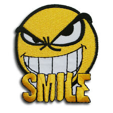 Smile Smiley Face Embroidered Patch Iron on Punk Harley Biker Hippie Retro Boho