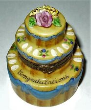 """LIMOGES BOX - """"CONGRATULATIONS"""" CAKE & BISQUE ROSE FLOWERS -ANNIVERSARY- WEDDING"""