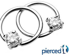 CZ CLEAR GEMS SOLITAIRE CAPTIVE BEAD CBR NIPPLE RINGS 14g Pair