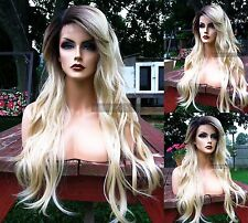 USA: Light Blonde Curly LACE FRONT & Skin PART Heat OK Dark Roots Wig