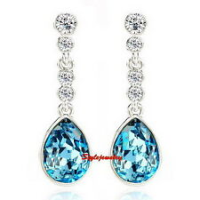 Silver Aquamarine Blue Swarovski Crystal Teardrop Bridal Wedding Earring IE85