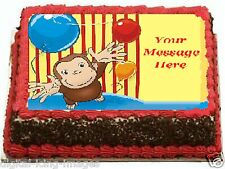 Curious George Cake topper edible image icing  REAL FONDANT Quarter Slab