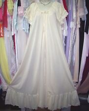 VTG Vintage INTIME of CALIFORNIA Yellow Ruffled Nightgown Peignoir Robe Set! M L