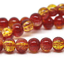 "RED and YELLOW Crackle Glass Round Beads 6mm, 32"" strand about 133 beads bgl1014"