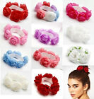 Flower Bun Wrap Garland Floral Head Knot Hair Top Scrunchie Band Elastic Bridal