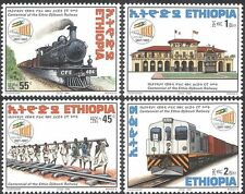 Ethiopie 1998 trains/train/chemin de fer/moteur à vapeur/locomotive/transport 4v set n42824