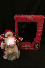 """12"""" Santa Claus Christmas/Holiday Fiber Optic Glow Lighted by Puleo Tree Topper"""