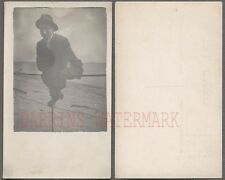 Vintage Photo Postcard Man On The Fence By Seaside Beach 714911