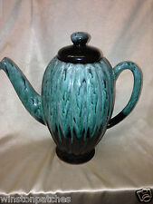 EVANGELINE CANADA POTTERY TURQUOISE COFFEE POT 56 OZ TEAL DRIP GLAZE GREEN BLUE