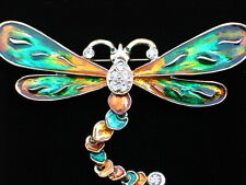 GREEN GOLD RHINESTONE BUG INSECT FLYING DRAGONFLY PIN BROOCH JEWELRY MOVABLE 4""