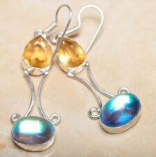 "Handmade Rainbow Mystical Fire Topaz 925 Sterling Silver Earrings 2.5"" #E00167"