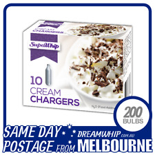 SAME DAY POSTAGE SUPAWHIP CREAM CHARGERS 10 PACK X 20 (200 BULBS) WHIPPED N2O