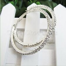 Women Silver Plated Diamante Crystal Rhinestone Big Hoop Circle Earrings GW