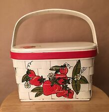 Rare Vtg 70s Wooden Caro Nan Purse Basket Floral Lining White Strawberry