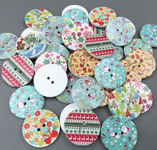 25pcs Christmas pattern Round Wooden Buttons decoration sewing scrapbooking 25mm