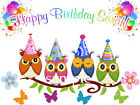 Cute OWLS Edible Birthday CAKE Image Icing Topper FREE SHIPPING