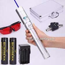 Amazing Burning Blue Laser Pointer Handheld Laser Sword Pen Torch Zoomable 18650