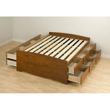 Cherry Finish Captain's Full Size 12 Drawer Storage No Box Spring Platform Bed