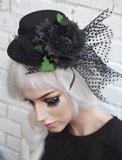 MINI TOP HAT BLACK FLOWER GOTHIC LOLITA GOTH EMO INDIE GRUNGE HALLOWEEN
