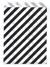 25 Pcs BlackDiagonal Stripes 5x7 Print Paper Gift Bags Favor Candy Shop