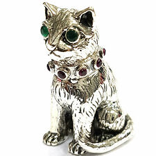 COLLECTABLE VICTORIAN STYLE CAT FIGURINE RUBY AND EMERALD 925 STERLING SILVER